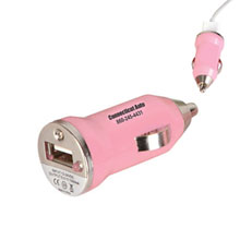 Compact Pink USB Car Charger
