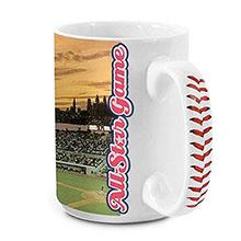 Baseball Handle Full Color Ceramic Mug, 15oz.