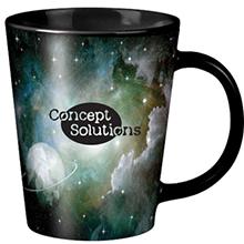 Short Full Color Black Latte Mug, 12oz. - Free Set Up Charges!