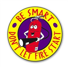 Be Smart. Don't Let Fire Start Sticker Roll, Stock - Closeout, On Sale!