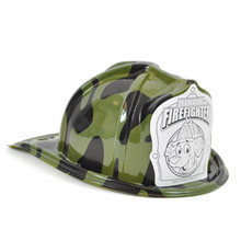Chief's Choice Kid's Firefighter Hat Green Camo, Dalmatian Color-Me Shield, Stock