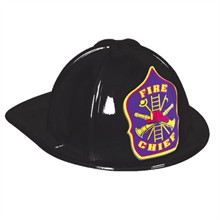 Stock Kid's Fire Chief Hat, Black