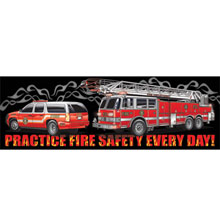 Practice Fire Safety Every Day Black Smoke Heavy Duty Banner, Stock
