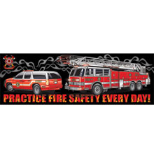 Practice Fire Safety Every Day Black Smoke, Heavy Duty Banner, 2' x 6'