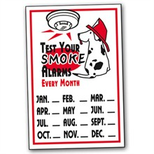 Test Your Smoke Alarms Reminder Window Clings, Stock