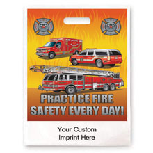 "Practice Fire Safety Every Day Flames Full Color Litterbag, 9"" x 12"""