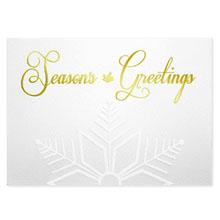 Season's Greetings Gold Embossed Snowflake Holiday Greeting Card