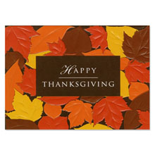 Happy Thanksgiving Embossed Leaves Holiday Greeting Card