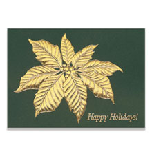Happy Holidays Poinsettia Leaf Holiday Greeting Card