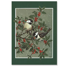 Birds on Berry Tree Holiday Greeting Card