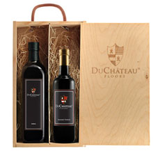 Rustic Wood Box Gift Set with Gourmet Balsamic Vinegar & Olive Oil