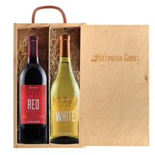 Rustic Wood Box Gift Set with Full Color Wine Bottles
