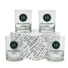 "Double Old Fashion ""Thank You"" Four-Glass Set"