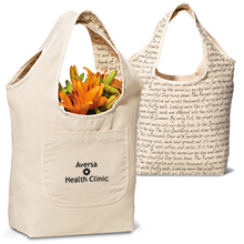 Clara Reversible Cotton Tote, Writing Graphics - Free Set Up Charges!
