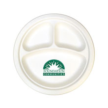 Biodegradable 3-Section Paper Plate, 10""
