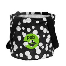 Large Printed Round Utility Tote - Black Bubble Explosion