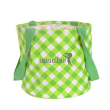 Large Printed Round Utility Tote, Lime Gingham