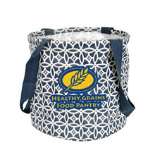 Large Printed Round Utility Tote - Navy Sailing Compass