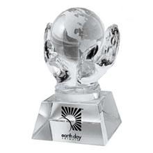 Crystal Hands & Globe Desk Sculpture
