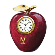 Marble Apple Clock w/ Gold Leaf