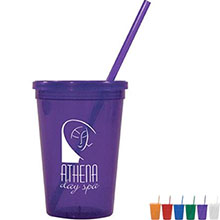 Antigua Jewel Tumbler Cup w Lid & Straw, 16oz.
