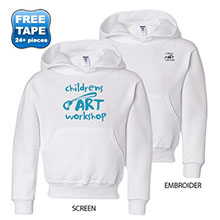 Jerzees Youth 50/50 NuBlend® Fleece Pullover Hood, White