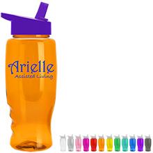 Transparent Grip Poly-Pure Sport Bottle, 27oz. - Flip Straw Lid