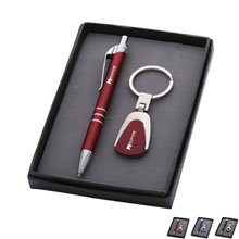 Pen and Metal Keychain Gift Set