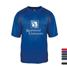 Adult Short-Sleeved Performance Tee with Heather Shoulder Inserts