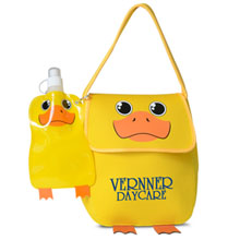 Paws N Claws Neoprene Lunch Bag w/ Bottle Set, Duck