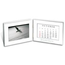 "Folding Silver Photo Frame & Perpetual Calendar, 4"" x 6"""