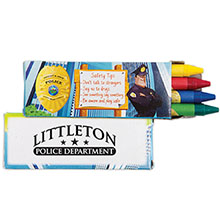 Four Pack Crayons, Police Safety Design Custom