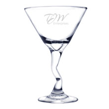 Bent Martini Glass, Deep Etched, 9.25oz.