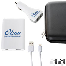 Credit Card Size Power Bank, Car Charger, and Apple® Cable Gift Set, 3000 mAh