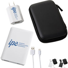 Credit Card Size Power Bank, Wall Charger, and Apple® Cable Gift Set, 3000mAh