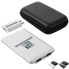 Faux Leather Power Bank and Wall Charger Gift Set, 5000mAh