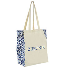 Cotton Canvas Printed Side Tote - Sailing Compass