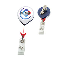 Jumbo Patriot Round Retractable Badgeholder, Alligator Clip