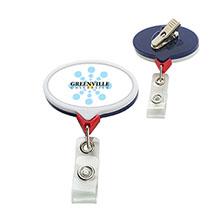 Jumbo Patriot Oval Retractable Badgeholder, Alligator Clip