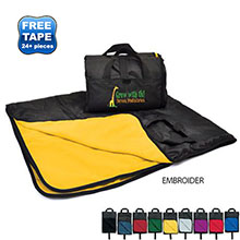 "Fold Up Nylon Fleece Outdoor Blanket, 50"" x 60"""
