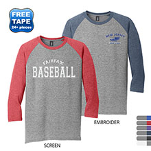 District Made® Perfect Tri™ Men's 3/4-Sleeve Raglan