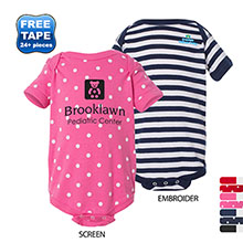 Rabbit Skins® Dots & Stripes Ringspun Cotton Lap Shoulder Infant Creeper