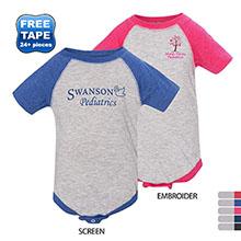 Rabbit Skins® Fine Jersey Three-Quarter Sleeve Baseball Infant Bodysuit