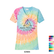 Port & Company® Essential Tie-Dye V Neck Ladies' Tee
