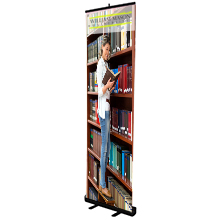 Economy Retractor No Curl Opaque Fabric Banner Display Kit, 24""