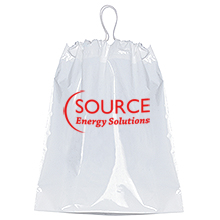 "Cotton Drawstring Plastic Bag with Gusset, 12"" x 16"""