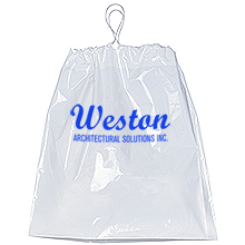 "Cotton Drawstring Plastic Bag with Gusset, 16"" x 18"""
