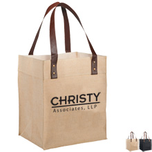 Jute Grocery Tote with Leather Handles