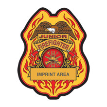 Junior Firefighter Plastic Badge w/ Eagle and Flames