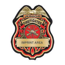 Junior Firefighter Gold and Black Plastic Badge
